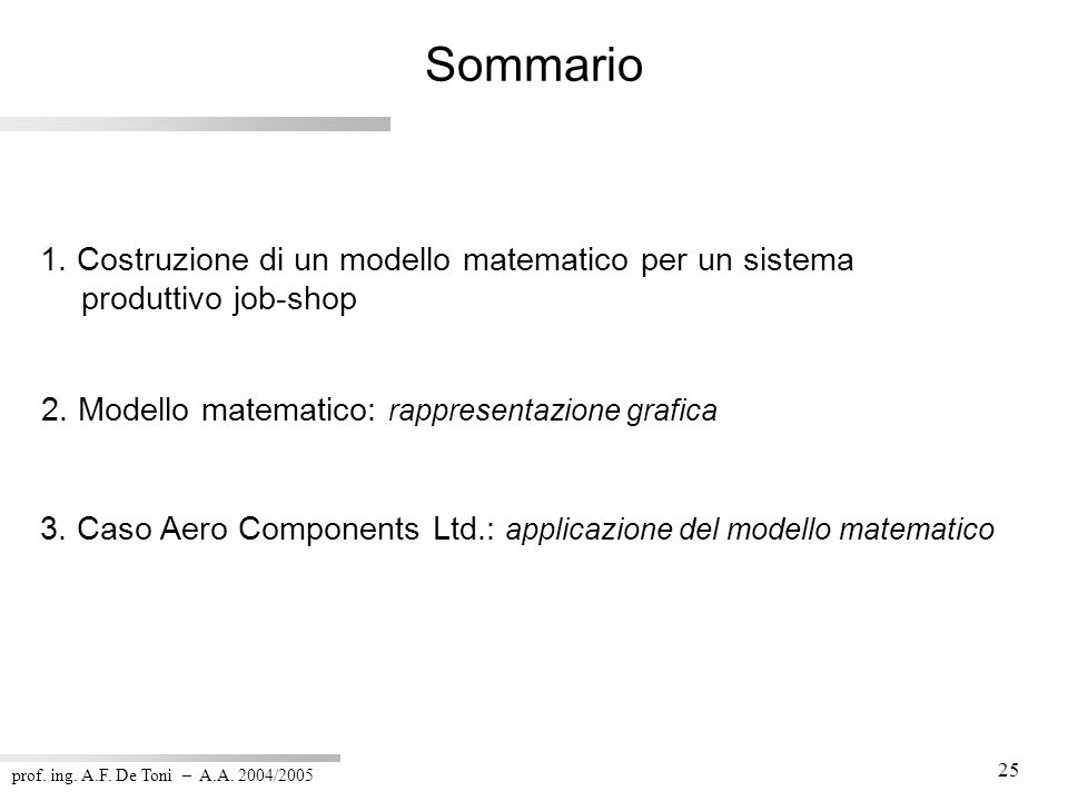 prof. ing. A.F. De Toni – A.A. 2004/2005 25 Sommario 1. Costruzione di un modello matematico per un sistema produttivo job-shop 3. Caso Aero Component