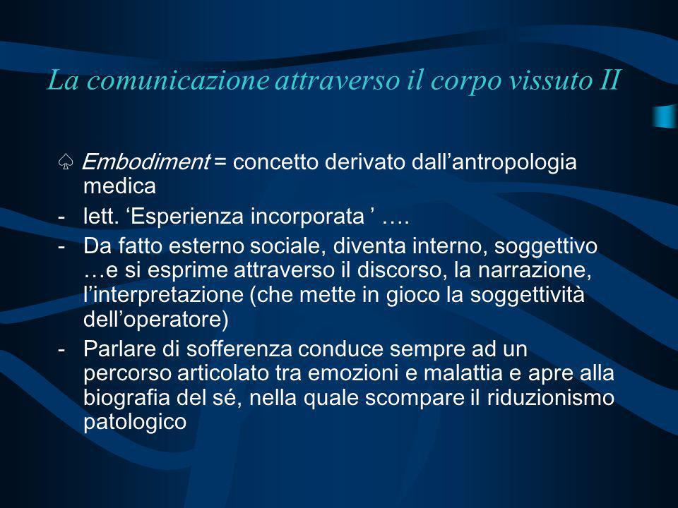 La comunicazione attraverso il corpo vissuto II Embodiment = concetto derivato dallantropologia medica -lett. Esperienza incorporata …. -Da fatto este