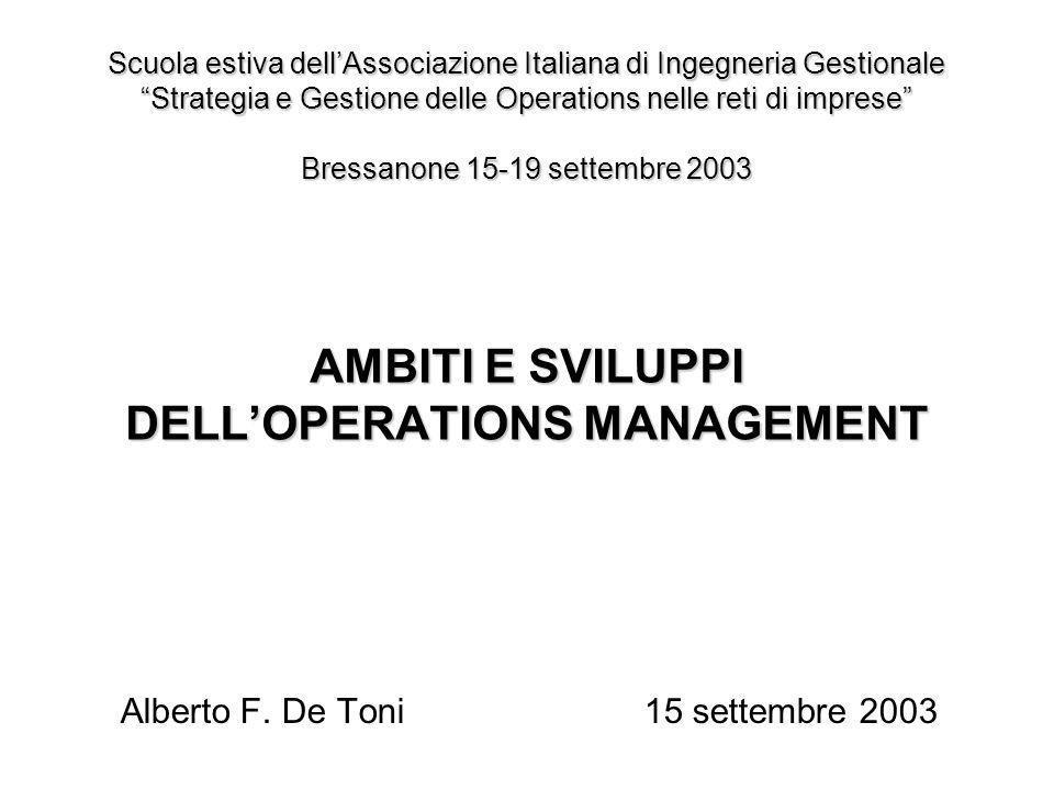 AMBITI E SVILUPPI DELLOPERATIONS MANAGEMENT Alberto F. De Toni15 settembre 2003 Scuola estiva dellAssociazione Italiana di Ingegneria Gestionale Strat