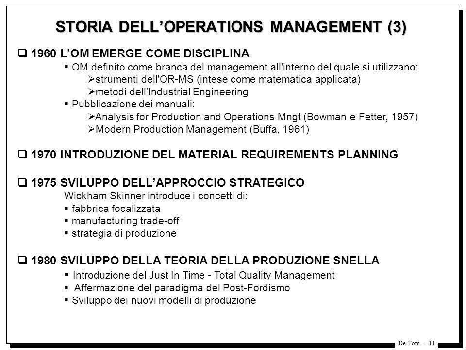 De Toni - 11 STORIA DELLOPERATIONS MANAGEMENT (3) 1960 LOM EMERGE COME DISCIPLINA OM definito come branca del management all'interno del quale si util