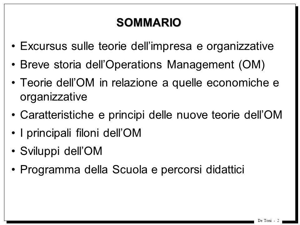 De Toni - 2 SOMMARIO Excursus sulle teorie dellimpresa e organizzative Breve storia dellOperations Management (OM) Teorie dellOM in relazione a quelle