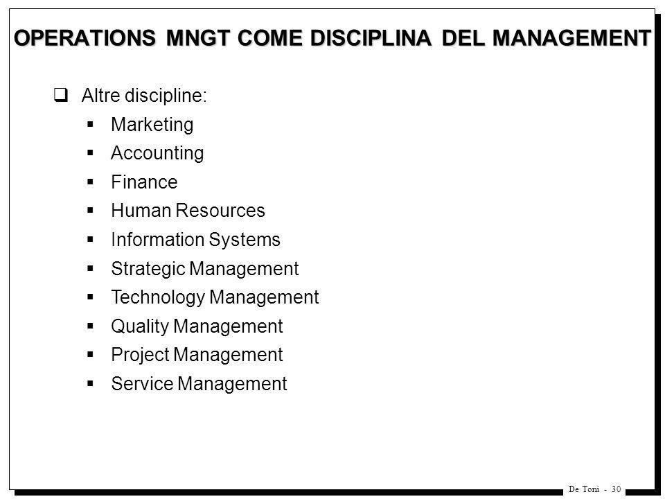 De Toni - 30 OPERATIONS MNGT COME DISCIPLINA DEL MANAGEMENT Altre discipline: Marketing Accounting Finance Human Resources Information Systems Strateg