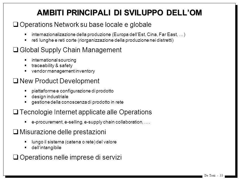 De Toni - 33 AMBITI PRINCIPALI DI SVILUPPO DELLOM Operations Network su base locale e globale internazionalizazione della produzione (Europa dellEst,