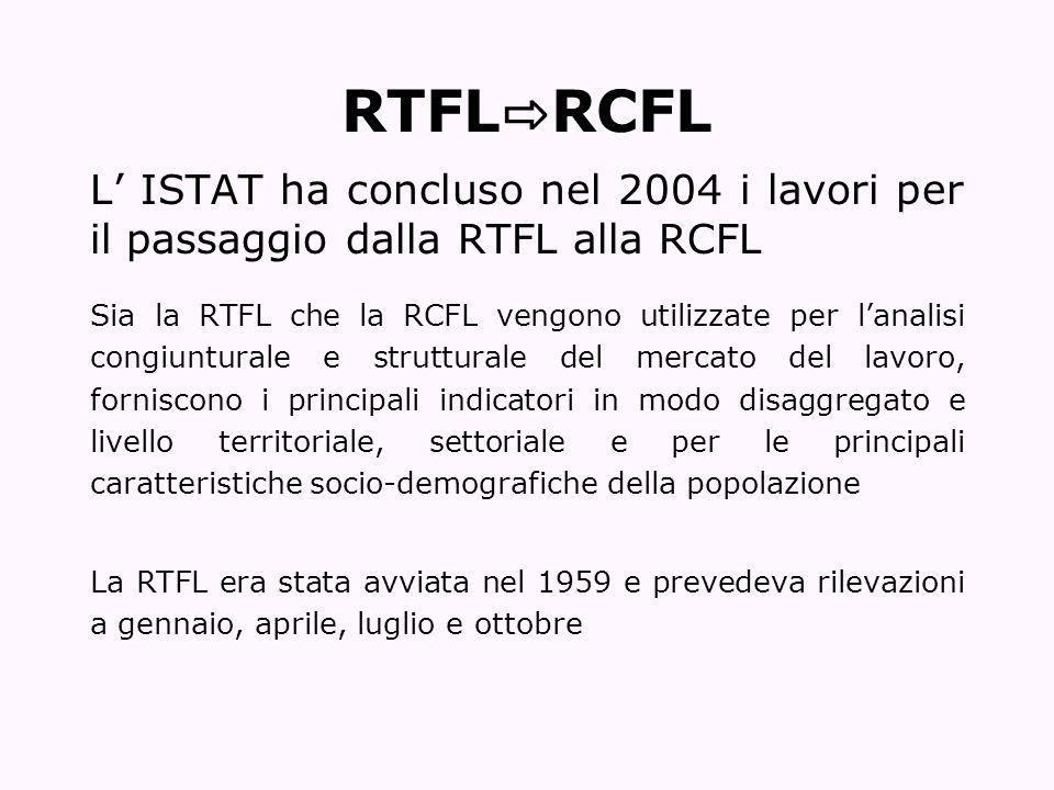 RTFL RCFL L ISTAT ha concluso nel 2004 i lavori per il passaggio dalla RTFL alla RCFL Sia la RTFL che la RCFL vengono utilizzate per lanalisi congiunt
