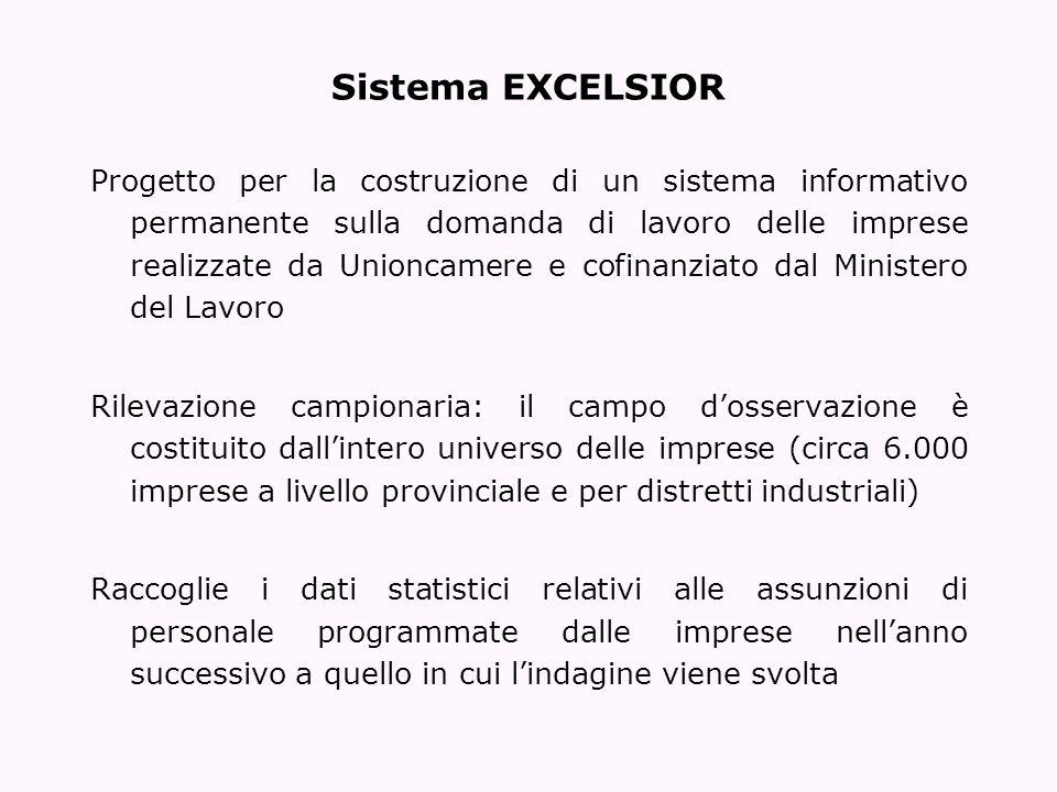 Sistema EXCELSIOR Progetto per la costruzione di un sistema informativo permanente sulla domanda di lavoro delle imprese realizzate da Unioncamere e c