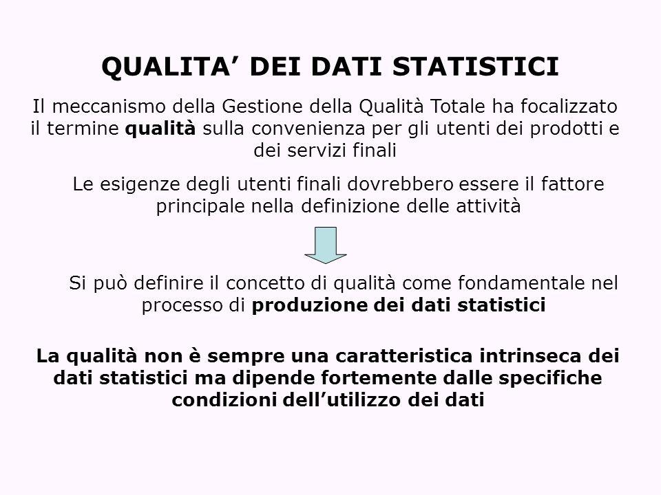 QUALITA DEI DATI STATISTICI Le esigenze degli utenti finali dovrebbero essere il fattore principale nella definizione delle attività Si può definire i