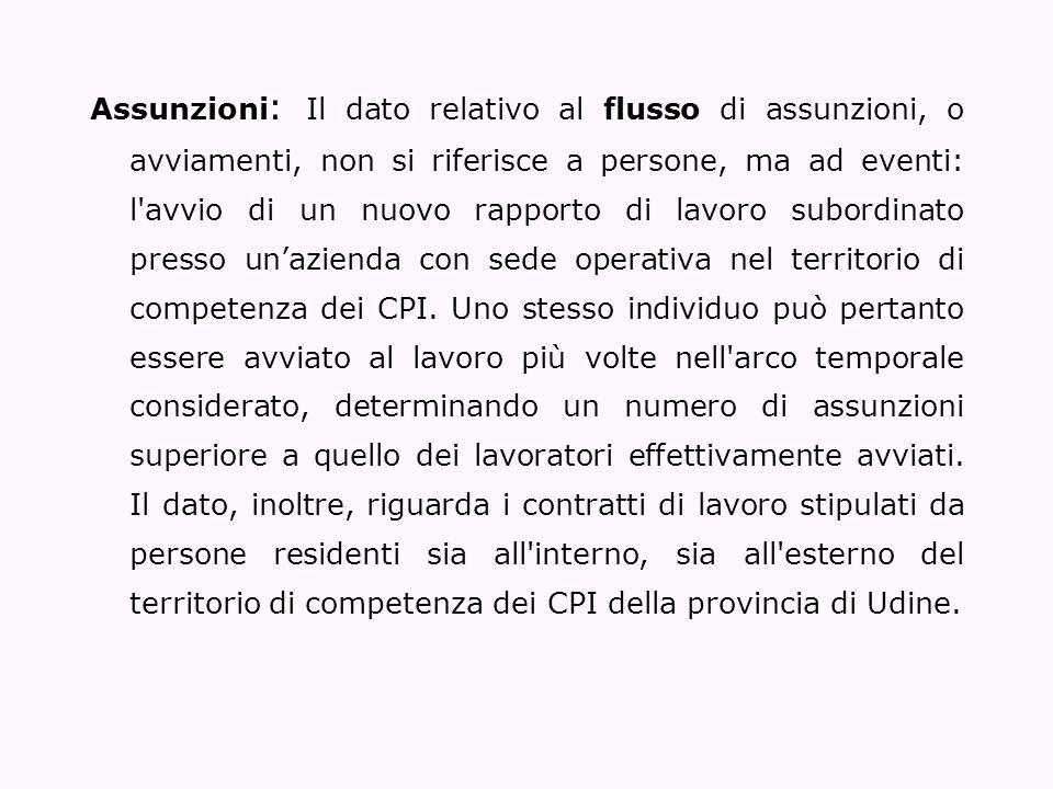 Assunzioni : Il dato relativo al flusso di assunzioni, o avviamenti, non si riferisce a persone, ma ad eventi: l'avvio di un nuovo rapporto di lavoro