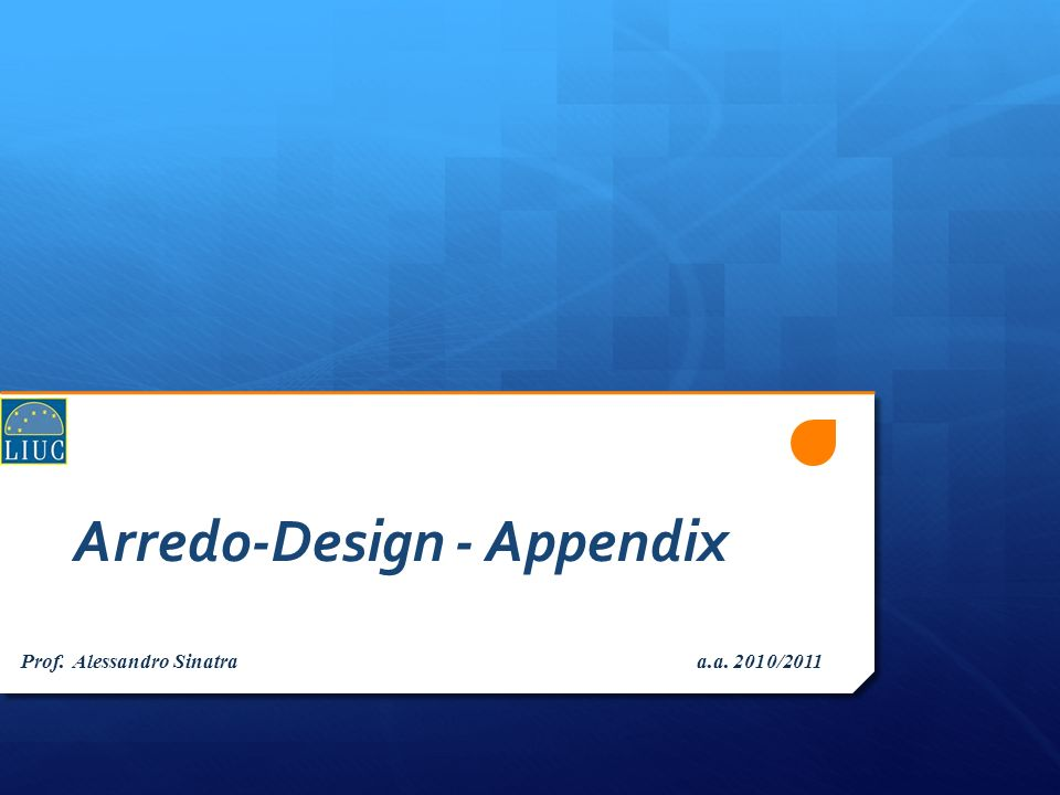 Arredo-Design - Appendix Prof. Alessandro Sinatra a.a. 2010/2011