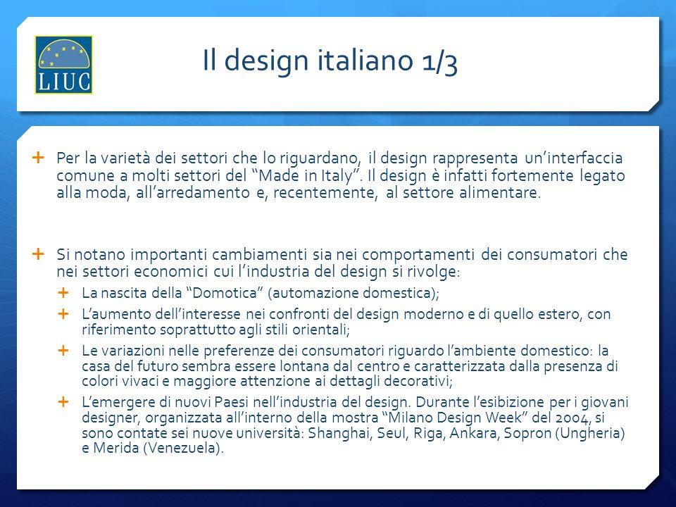 Il design italiano 1/3 Per la varietà dei settori che lo riguardano, il design rappresenta uninterfaccia comune a molti settori del Made in Italy. Il