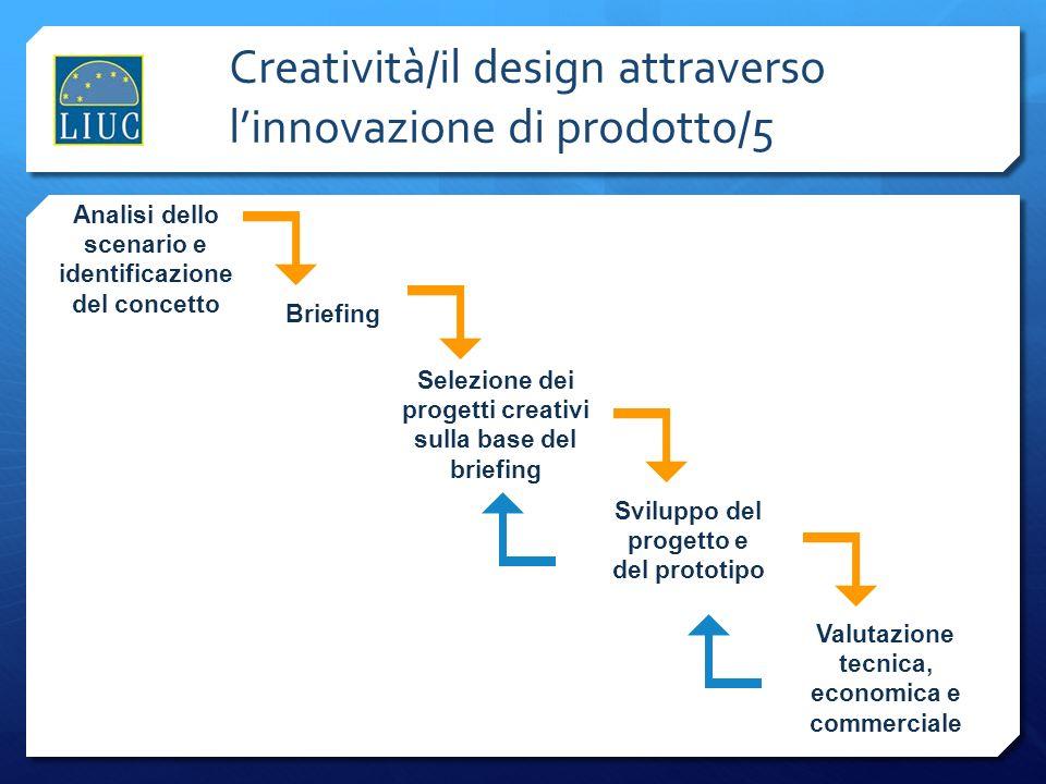 Creatività/il design attraverso linnovazione di prodotto/5 Analisi dello scenario e identificazione del concetto Briefing Selezione dei progetti creat