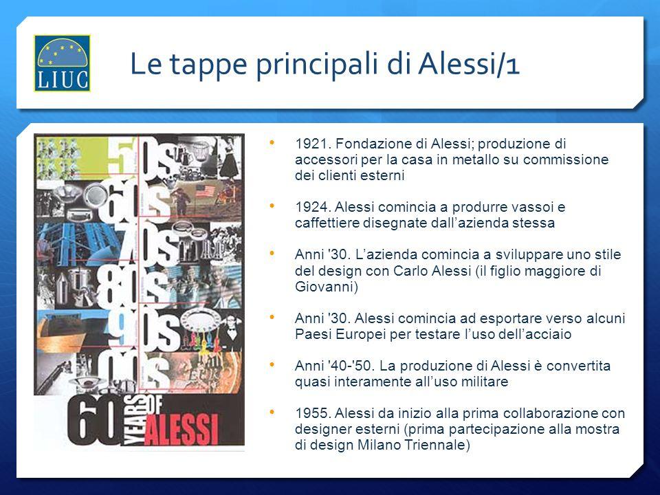 Le tappe principali di Alessi/1 1921. Fondazione di Alessi; produzione di accessori per la casa in metallo su commissione dei clienti esterni 1924. Al
