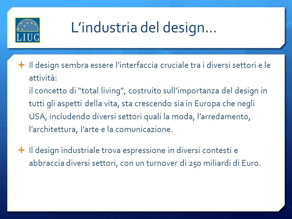 Lindustria del design... Il design sembra essere linterfaccia cruciale tra i diversi settori e le attività: il concetto di total living, costruito sul