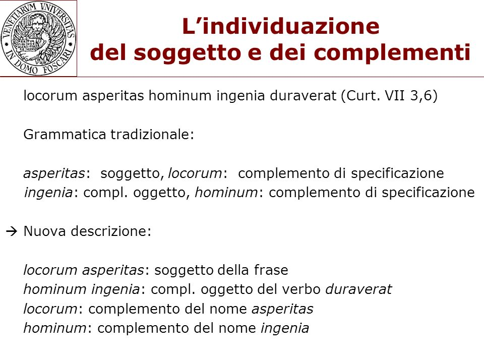 Lindividuazione del soggetto e dei complementi locorum asperitas hominum ingenia duraverat (Curt. VII 3,6) Grammatica tradizionale: asperitas: soggett