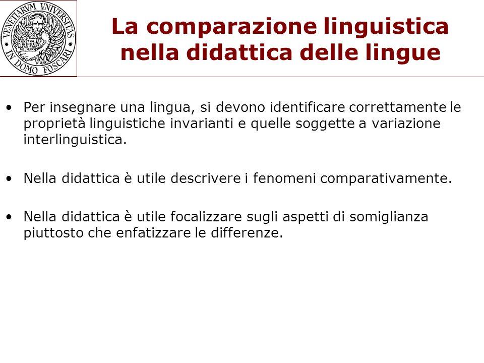 La comparazione linguistica nella didattica delle lingue Per insegnare una lingua, si devono identificare correttamente le proprietà linguistiche inva