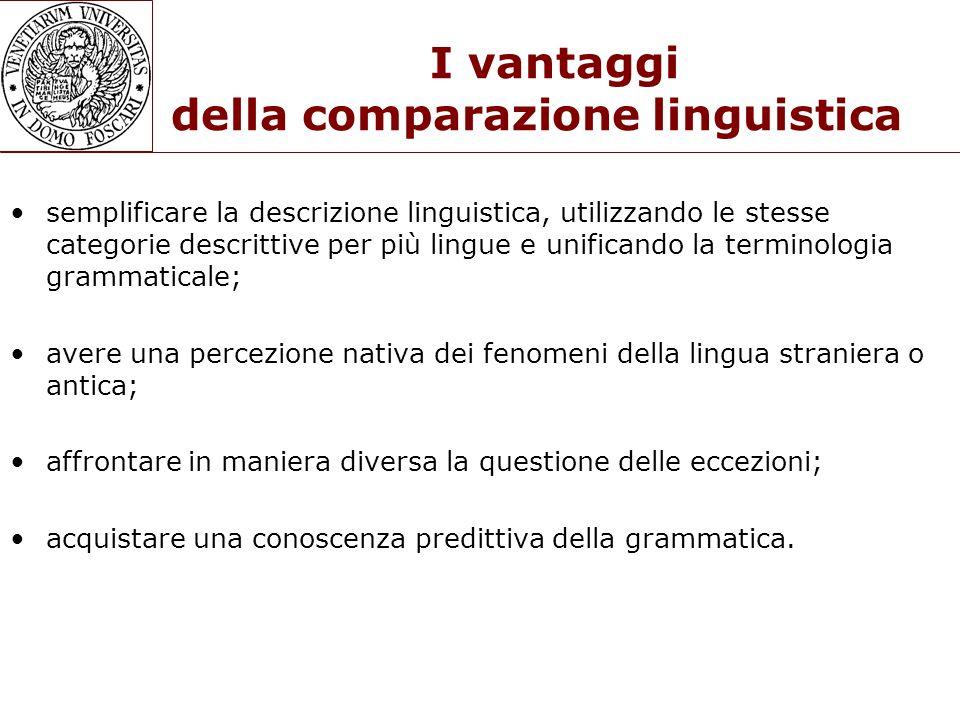 I vantaggi della comparazione linguistica semplificare la descrizione linguistica, utilizzando le stesse categorie descrittive per più lingue e unific