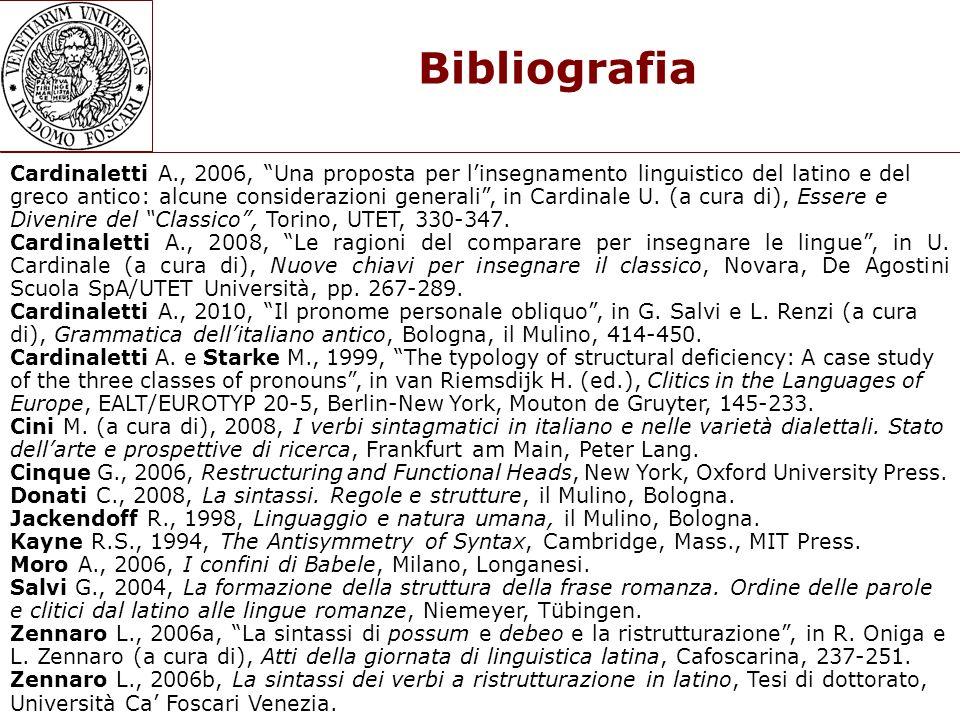 Bibliografia Cardinaletti A., 2006, Una proposta per linsegnamento linguistico del latino e del greco antico: alcune considerazioni generali, in Cardi