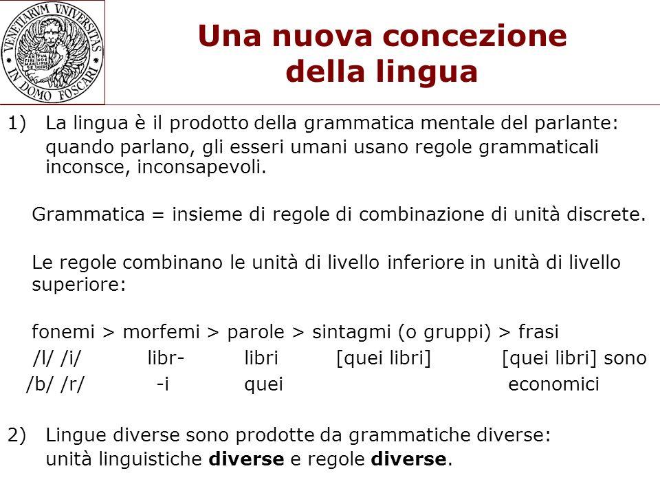 Una nuova concezione della lingua 1) La lingua è il prodotto della grammatica mentale del parlante: quando parlano, gli esseri umani usano regole gram