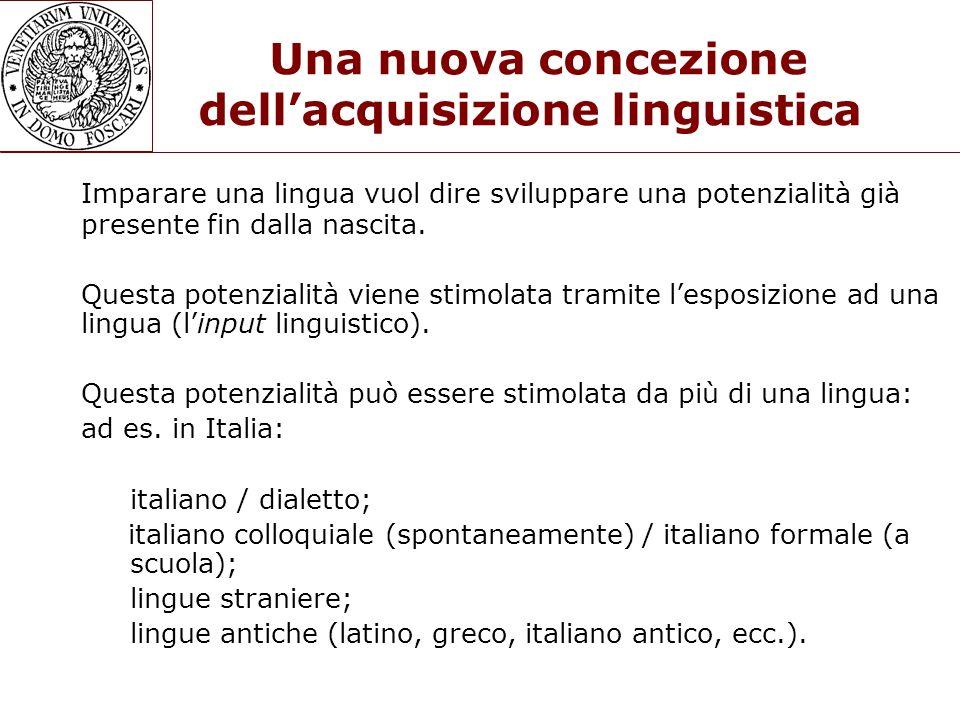 Una nuova concezione dellacquisizione linguistica Imparare una lingua vuol dire sviluppare una potenzialità già presente fin dalla nascita. Questa pot