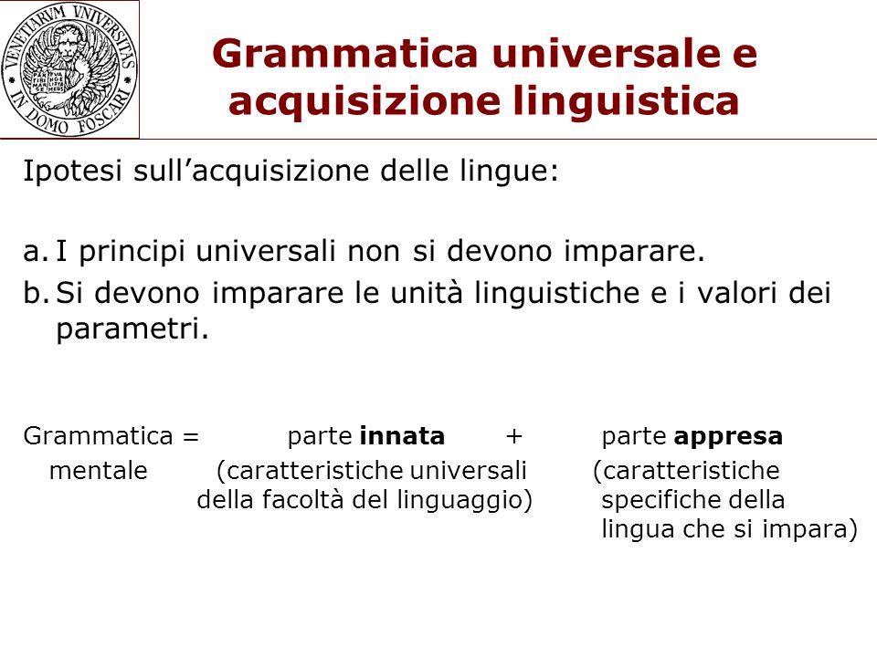 Grammatica universale e acquisizione linguistica Ipotesi sullacquisizione delle lingue: a.I principi universali non si devono imparare. b.Si devono im