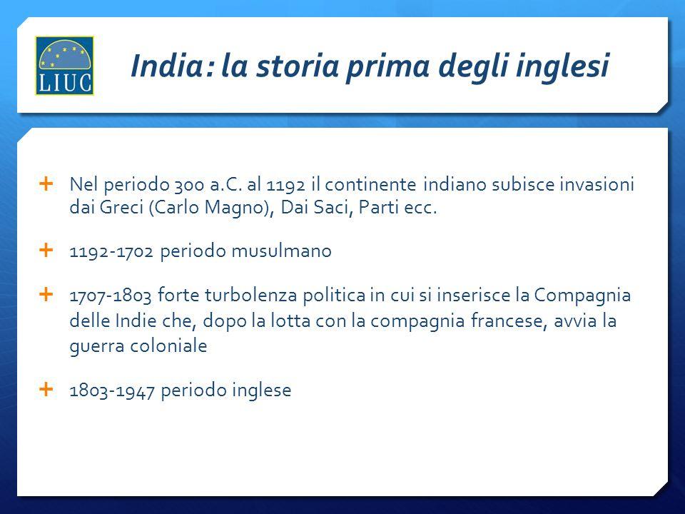 India: la storia prima degli inglesi Nel periodo 300 a.C. al 1192 il continente indiano subisce invasioni dai Greci (Carlo Magno), Dai Saci, Parti ecc