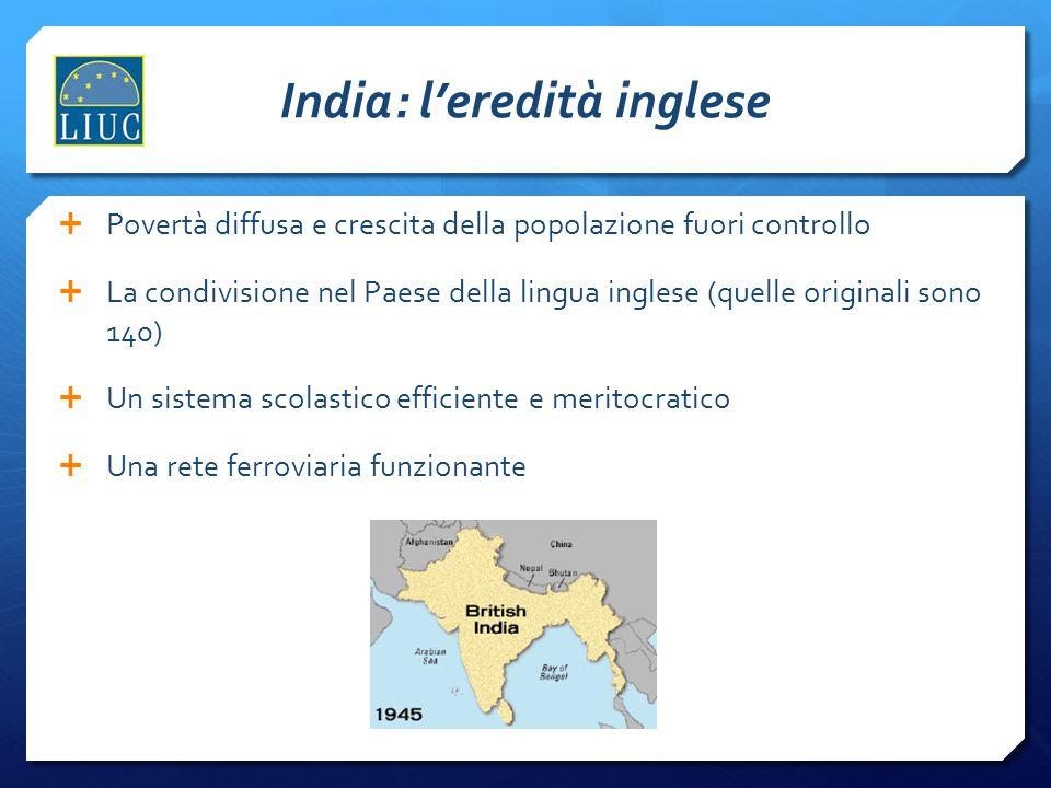 India: leredità inglese Povertà diffusa e crescita della popolazione fuori controllo La condivisione nel Paese della lingua inglese (quelle originali