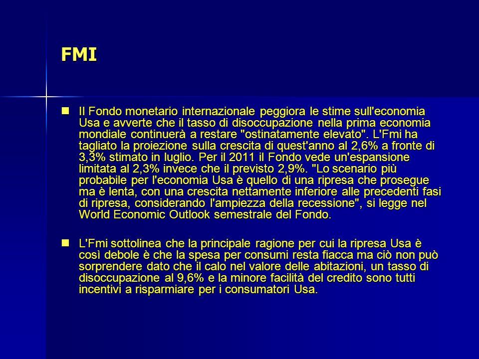 FMI Il Fondo monetario internazionale peggiora le stime sull'economia Usa e avverte che il tasso di disoccupazione nella prima economia mondiale conti