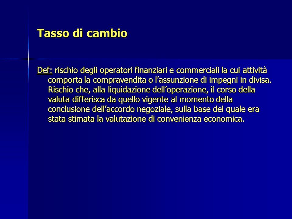 Tasso di cambio Def: rischio degli operatori finanziari e commerciali la cui attività comporta la compravendita o lassunzione di impegni in divisa. Ri