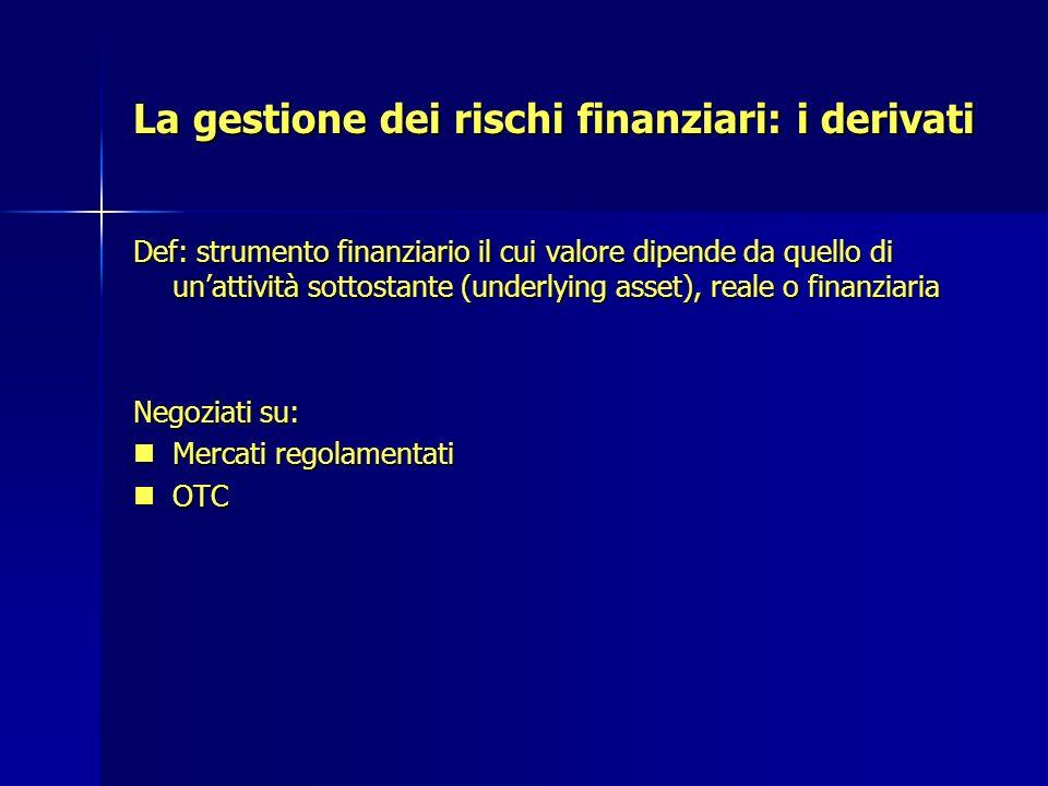 La gestione dei rischi finanziari: i derivati Def: strumento finanziario il cui valore dipende da quello di unattività sottostante (underlying asset),