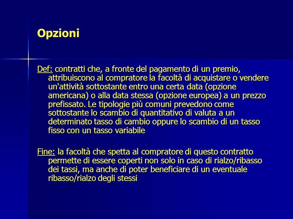 Opzioni Def: contratti che, a fronte del pagamento di un premio, attribuiscono al compratore la facoltà di acquistare o vendere un'attività sottostant