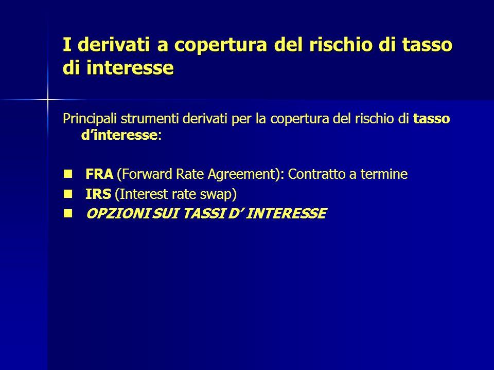 I derivati a copertura del rischio di tasso di interesse Principali strumenti derivati per la copertura del rischio di tasso dinteresse: FRA (Forward