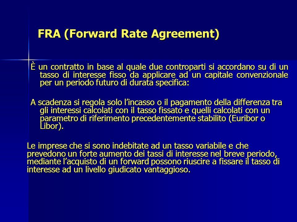 FRA (Forward Rate Agreement) È un contratto in base al quale due controparti si accordano su di un tasso di interesse fisso da applicare ad un capital