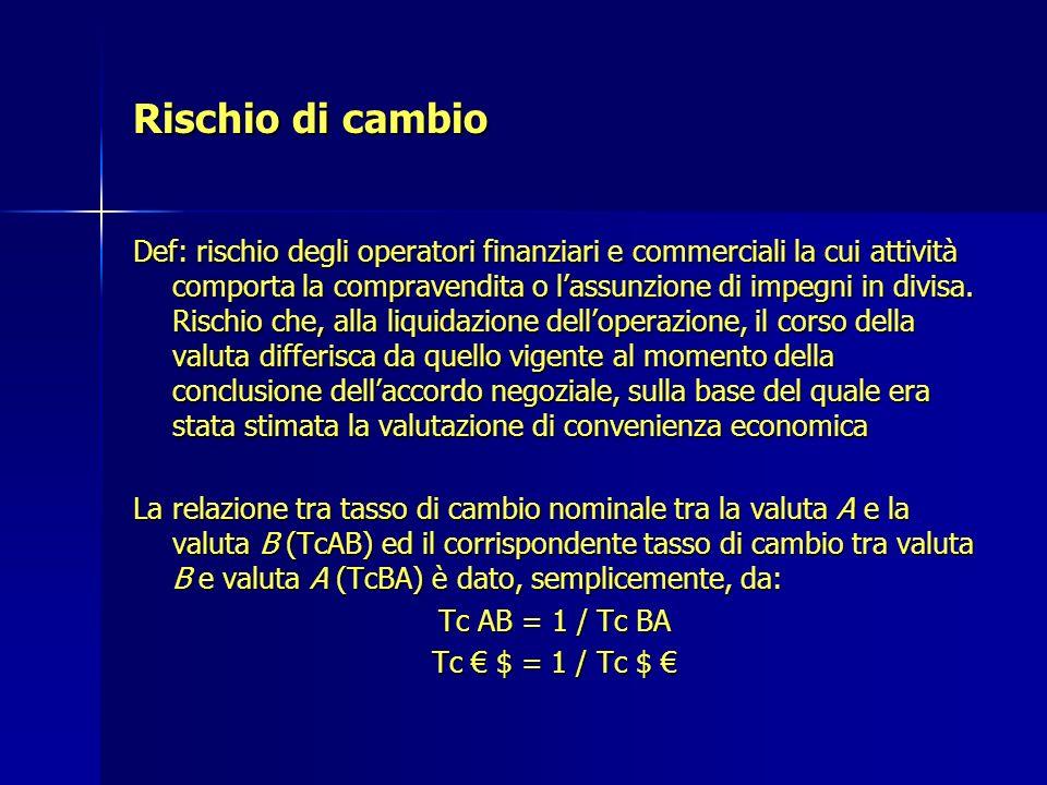 Rischio di cambio Def: rischio degli operatori finanziari e commerciali la cui attività comporta la compravendita o lassunzione di impegni in divisa.