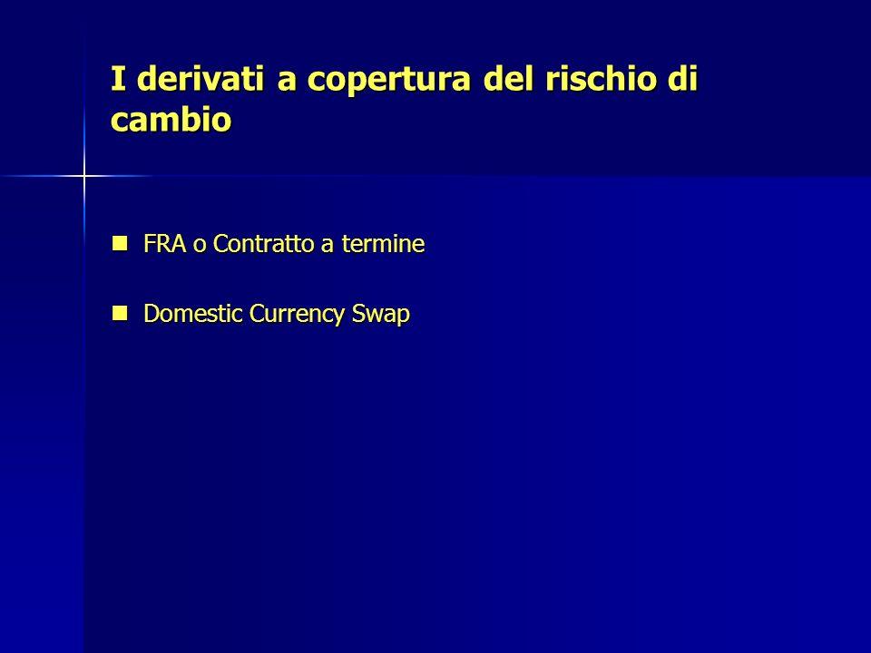I derivati a copertura del rischio di cambio FRA o Contratto a termine FRA o Contratto a termine Domestic Currency Swap Domestic Currency Swap