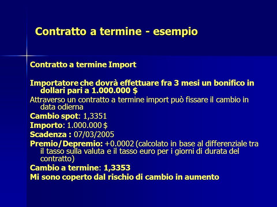 Contratto a termine - esempio Contratto a termine Import Importatore che dovrà effettuare fra 3 mesi un bonifico in dollari pari a 1.000.000 $ Attrave