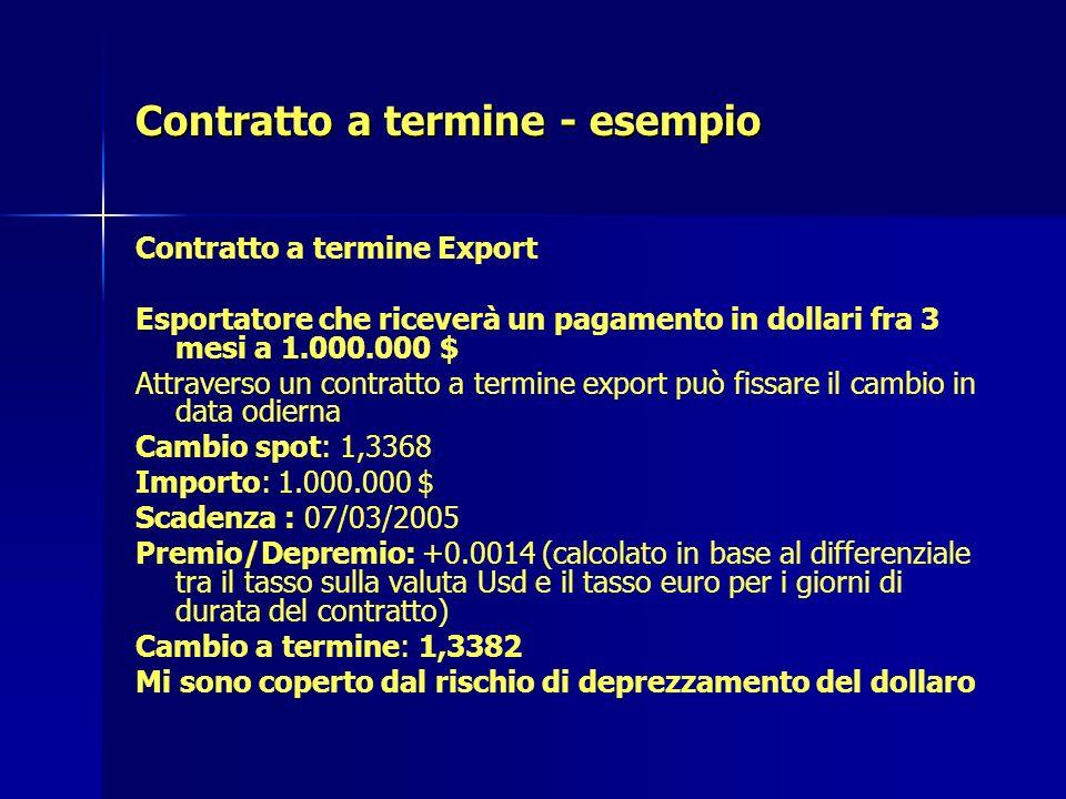 Contratto a termine - esempio Contratto a termine Export Esportatore che riceverà un pagamento in dollari fra 3 mesi a 1.000.000 $ Attraverso un contr