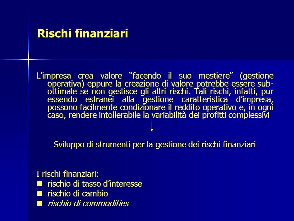 Rischi finanziari Limpresa crea valore facendo il suo mestiere (gestione operativa) eppure la creazione di valore potrebbe essere sub- ottimale se non