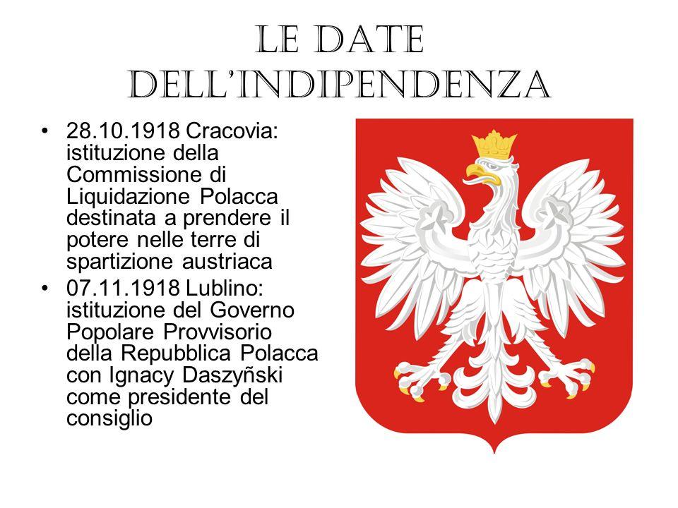 10.11.1918 Józef Piłsudski, liberato dallinternamento nella prigione di Magdeburgo, arriva a Varsavia 11.11.1918 Józef Piłsudski riceve il comando dellesercito polacco dal Consiglio di Reggenza 12.11.1918 Piłsudski dichiara di accingersi a formare il governo su richiesta del Consiglio di Reggenza 14.11.1918 Il Consiglio di Reggenza trasmette il potere a Piłsudski e si dimette 22.11.1918 Piłsudski assume lufficio di capo provvisorio dello stato