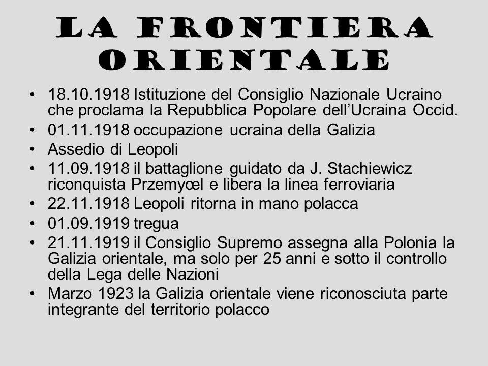 La frontiera con la Cecoslovacchia 05.11.1918 Il Consiglio Nazionale del Principato di Cieszyn e il Comitato Nazionale Ceco stringono un accordo provvisorio in base al quale le frontiere debbono essere tracciate in base alla conformazione etnica 23.01.1919 attacco ceco frenato solo con la battaglia di Skoczów 03.02.1919 tregua: i cechi si ritirano al di la del fiume Olza 28.07.1920 in luogo del plebiscito originariamente progettato la Polonia acconsente a far tracciare la frontiera al Consiglio Supremo in cambio di aiuto nella guerra contro i bolscevichi – in terra ceca rimangono oltre 150.000 cittadini polacchi.