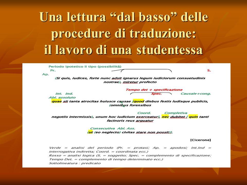 Una lettura dal basso delle procedure di traduzione: il lavoro di una studentessa