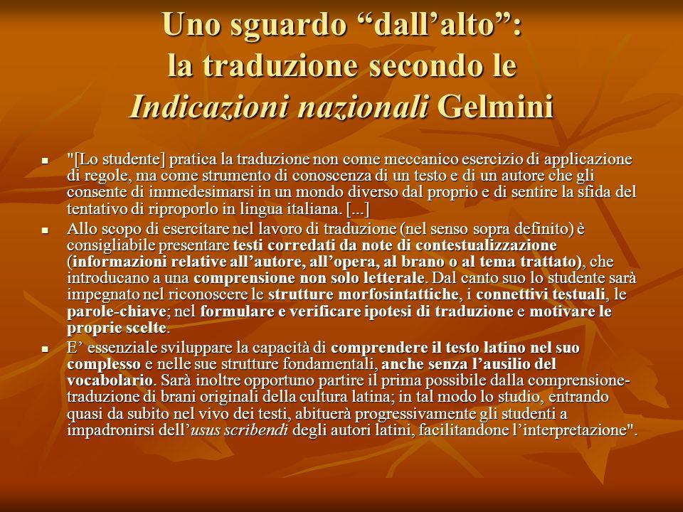 Uno sguardo dallalto: la traduzione secondo le Indicazioni nazionali Gelmini