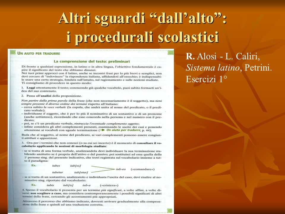 Altri sguardi dallalto: i procedurali scolastici R. Alosi - L. Caliri, Sistema latino, Petrini. Esercizi 1°