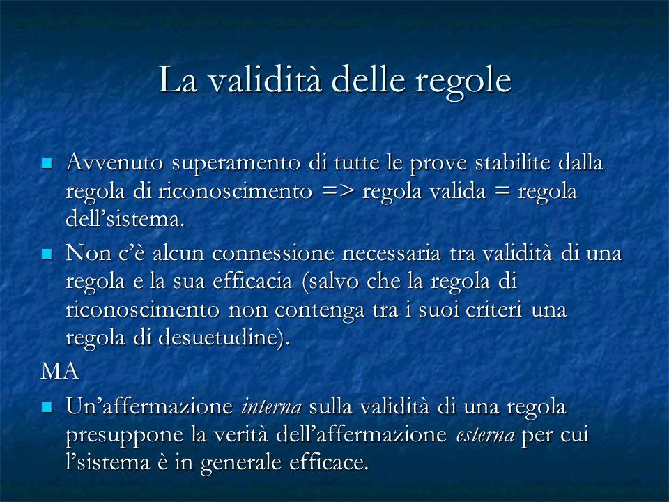 La validità delle regole Avvenuto superamento di tutte le prove stabilite dalla regola di riconoscimento => regola valida = regola dellsistema. Avvenu