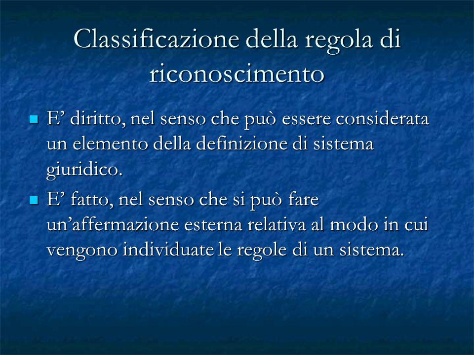 Classificazione della regola di riconoscimento E diritto, nel senso che può essere considerata un elemento della definizione di sistema giuridico. E d