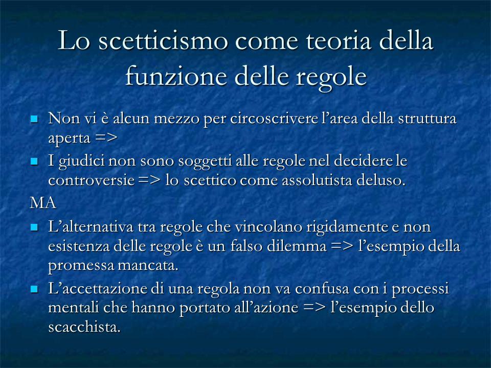 Lo scetticismo come teoria della funzione delle regole Non vi è alcun mezzo per circoscrivere larea della struttura aperta => Non vi è alcun mezzo per