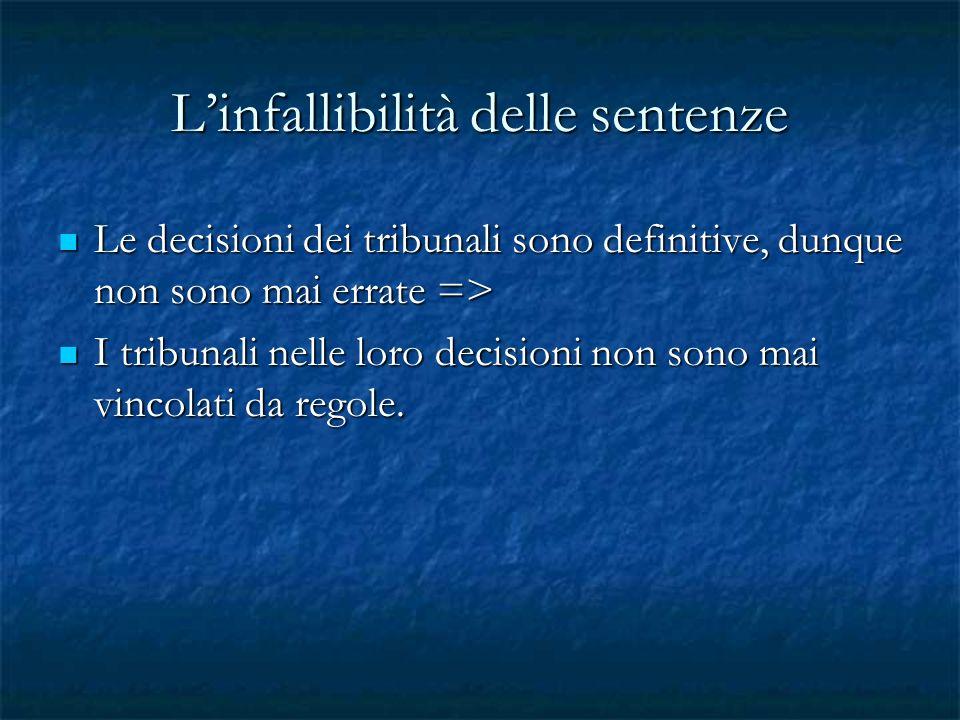 Linfallibilità delle sentenze Le decisioni dei tribunali sono definitive, dunque non sono mai errate => Le decisioni dei tribunali sono definitive, du