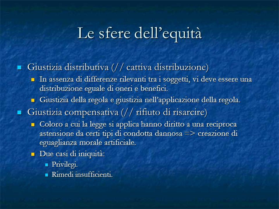 Le sfere dellequità Giustizia distributiva (// cattiva distribuzione) Giustizia distributiva (// cattiva distribuzione) In assenza di differenze rilev