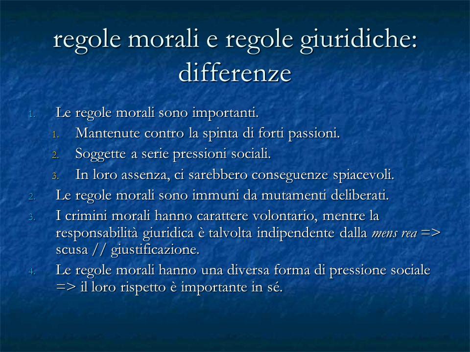 regole morali e regole giuridiche: differenze 1. Le regole morali sono importanti. 1. Mantenute contro la spinta di forti passioni. 2. Soggette a seri