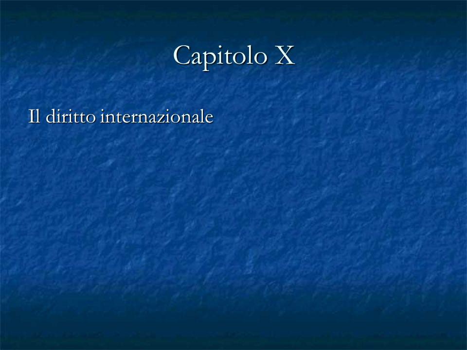 Capitolo X Il diritto internazionale