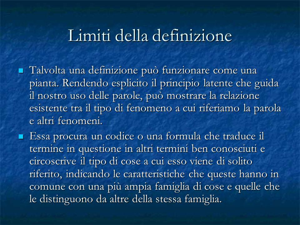 Limiti della definizione Talvolta una definizione può funzionare come una pianta. Rendendo esplicito il principio latente che guida il nostro uso dell