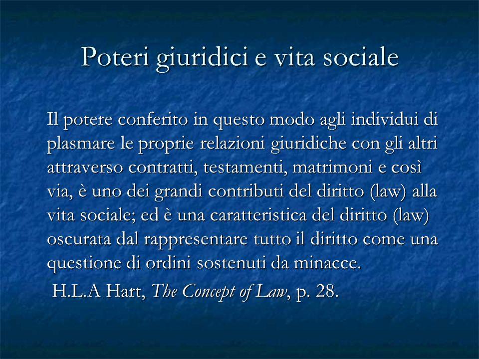 Poteri giuridici e vita sociale Il potere conferito in questo modo agli individui di plasmare le proprie relazioni giuridiche con gli altri attraverso